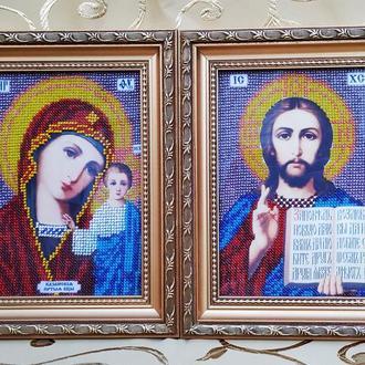 Иконы Казанска Божья Матерь и  Христос Спаситель, вышитые бисером