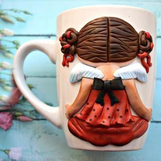 Кружка с декором, чашка с лепкой, кружка из полимерной глины, чашка на заказ, кружка
