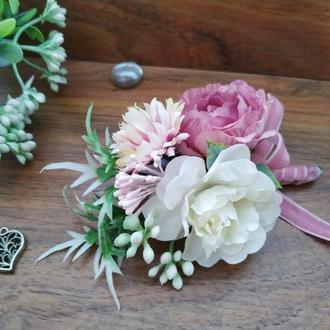Бутоньерка для жениха в цвете Пепел Розы Бутоньерка для свидетеля