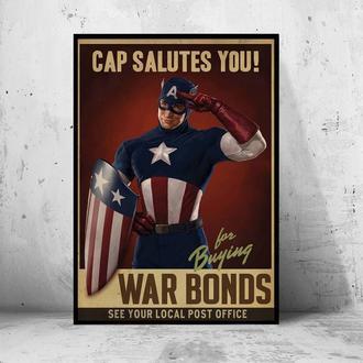"Постер на ПВХ 3 мм. в рамке ""Captain Americs Salutes You"" (Капитан Америка приветствует тебя)"