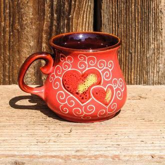 Чашка декор Сердце розовая