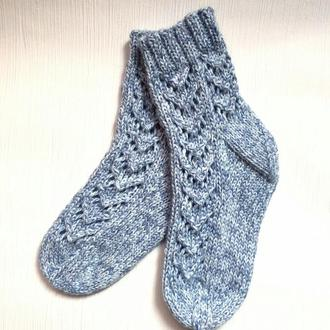 вязаные носочки с ажуром