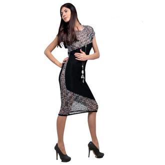 Оригинальное вязаное полупрозрачное платье