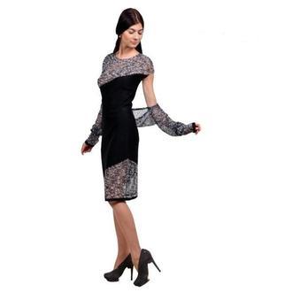 Оригинальное вязаное полупрозрачное платье с болеро