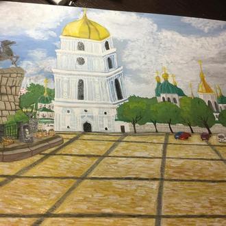 Малюнок Київ картон А3 гуаш