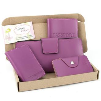 Подарочный набор №11: обложка на паспорт + документы + картхолдер + кошелек (фуксия)