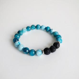 Браслет из синего апатита и вулканической лавы (модель № 532) JK jewelry