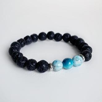 Браслет из вулканита  и синего апатита (модель № 533) JK jewelry