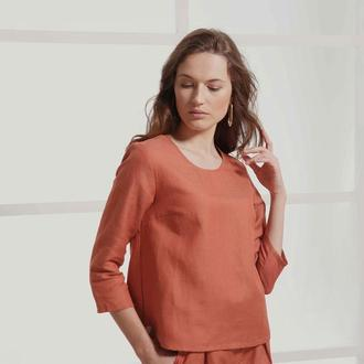 Терракотовая блуза из льна