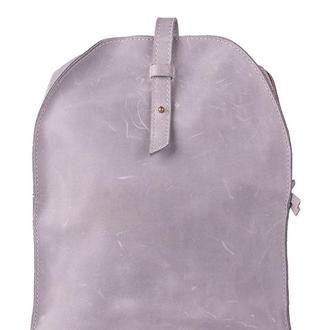 Кожаный мини-рюкзак. 01002/серый