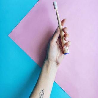 Бамбуковая зубная щетка, дерев'яна зубна щітка Zoobbee