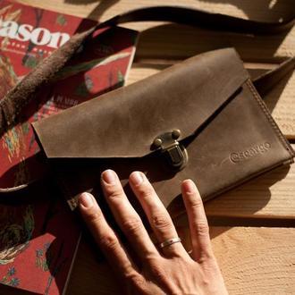 Поясная сумка из натуральной кожи. Кожаная сумка конверт