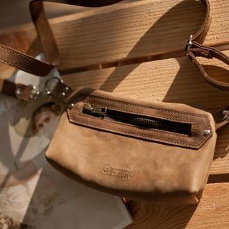 Поясная сумка из натуральной винтажной кожи, коричневая кожаная поясная сумка