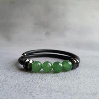 Нефритовый браслет. Браслет с натуральными камнями. Подарок девушке.