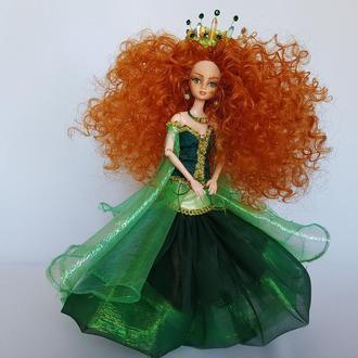 Кукла  Мерида рыжеволосая кудрявая красавица