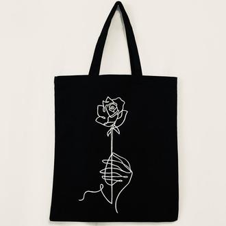 """Эко-сумка """" Роза в руке"""""""