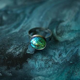 Кольцо с чешуйками \ светло-зелёный+голубой