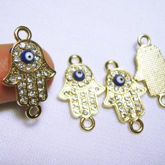 Фурнитура коннектор золотистый Хамса рука Фатимы для изготовления украшений