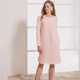 Розовое платье из натурального льна с вышивкой
