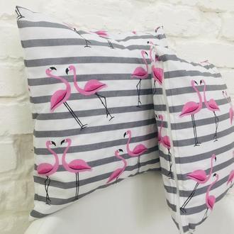 декоративная подушка с фламинго,набор 2 штуки,детские подушки,оригинальный подарок,на новоселье