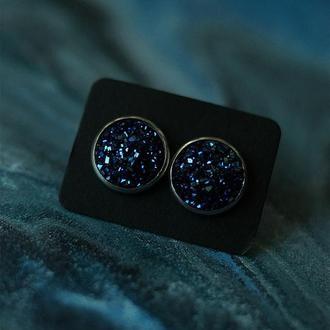 Серьги с тёмно-синими камнями