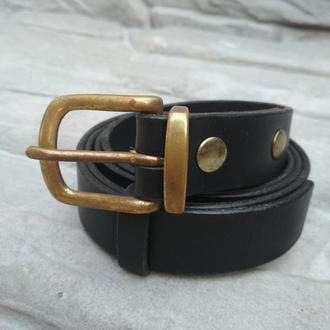 Кожаный ремень унисекс, Черный