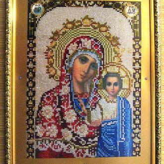 Божья Матерь Казанская,вышивка стразами,алмазная мозайка,икона,образ,лик,алмазная вышивка,30х40