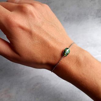 Изящный браслет с кристаллом Сваровски жуком-скарабеем. Подарок девушке. Женский браслет.
