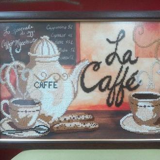 """Картина вышитая бисером """"Кофе для двоих"""", 40х28 см"""