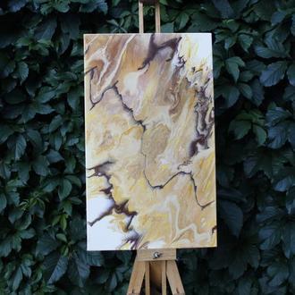 """Абстрактная картина """"Лава"""",  30Х50см.  Техника: fluid art."""