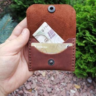 Мини-кошелек коричневый из натуральной кожи Revier идеальный подарок на любой повод