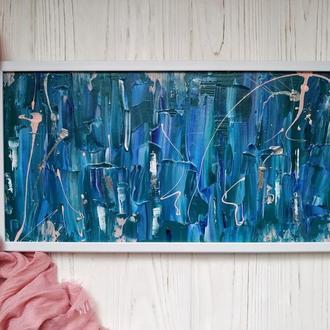 """Абстрактная картина  """"Море в рамке"""". Размер работы 22х42см"""