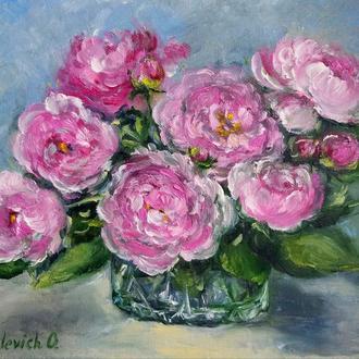 Картина маслом Чайні троянди 20×25 див.