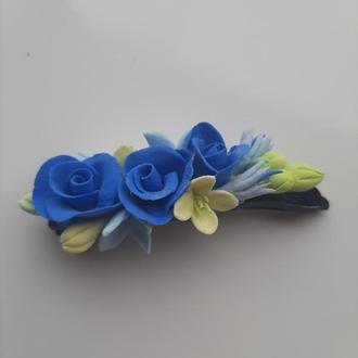 Заколка невидимка Голубые Розы