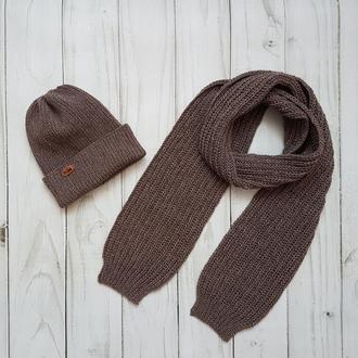 Вязаный комплект (шапка и шарф) на осень