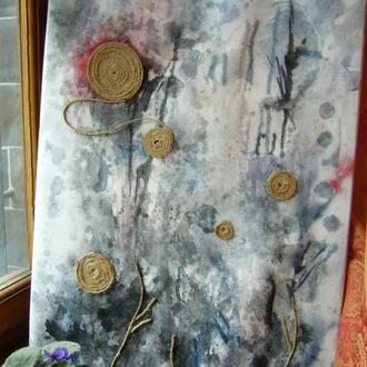 """Картина акварелью """"Цветы в тумане"""""""