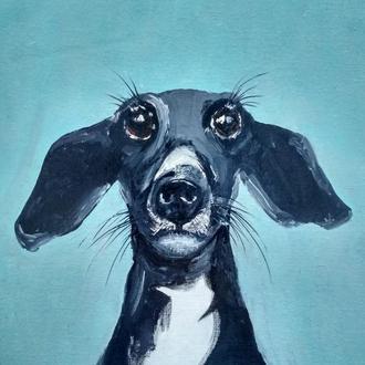 Пёс, картина маслом