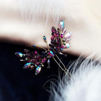 Морфо бабочка - заколка в аметистових оттенках, бесплатная доставка
