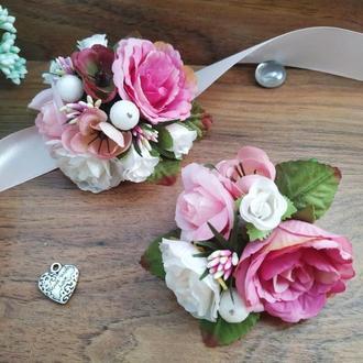 Комплект бутоньерок в розовом цвете Бутоньерка для свидетеля Бутоньерка на руку для подружки невесты