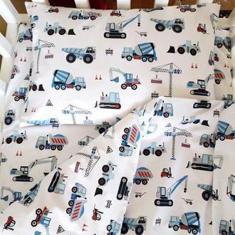 Комплект в детскую кроватку Строительные машинки синие
