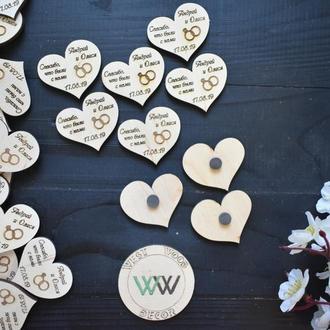 """Свадебные магниты фишки """"спасибо, что были с нами"""" с именами и датой свадьбы, подарок гостям"""