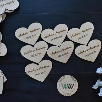 Свадебные фишки из дерева с именами и датой свадьбы, пригласительные из дерева