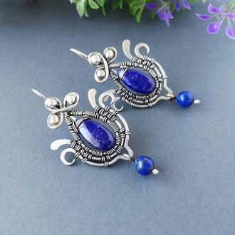 Серебряные серьги Синие цветы с лазуритом. Романтичные длинные сережки