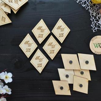 Свадебные фишки магниты ромб с инициалами и датой свадьбы, оригинальные пригласительные на свадьбу