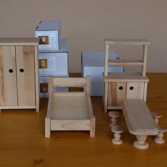 Набор игрушечной мебели. / Мебель для кукол деревянная.