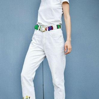 Винтажные белые высокие джинсы с ручной вышивкой