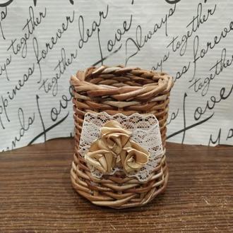 Плетёный стакан органайзер для карандашей и ручек