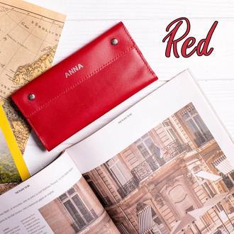 Женский кошелек Келли из натуральной кожи в ярко-красном цвете | 1_0150M_KEL