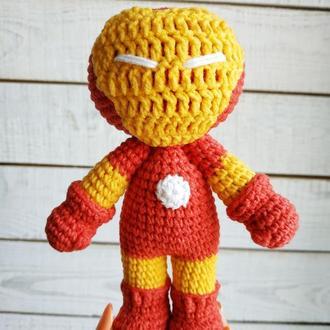 Мягкая игрушка Железный человек (вязаная кукла супергерой)