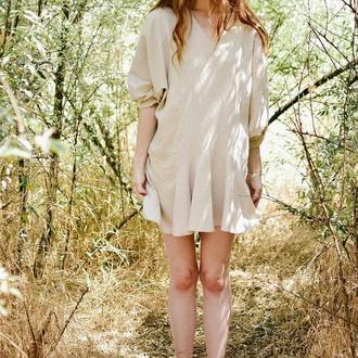 бежевое льняное платье, широкое платье, платье летучая мышь